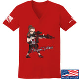 Cheyenne Dalton Ladies Cheyenne Dalton Morale V-Neck T-Shirts, V-Neck SMALL / Red by Ballistic Ink - Made in America USA