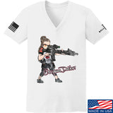 Cheyenne Dalton Ladies Cheyenne Dalton Morale V-Neck T-Shirts, V-Neck SMALL / White by Ballistic Ink - Made in America USA