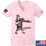 Cheyenne Dalton Ladies Cheyenne Dalton Morale V-Neck T-Shirts, V-Neck SMALL / Light Pink by Ballistic Ink - Made in America USA