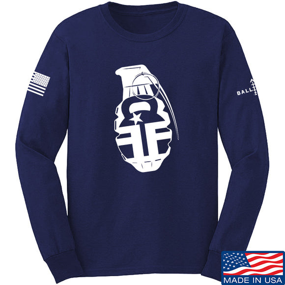 Fit'n Fire AK Grenade Long Sleeve T-Shirt Long Sleeve Small / Navy by Ballistic Ink - Made in America USA