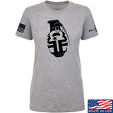 Fit'n Fire Ladies AK Grenade T-Shirt T-Shirts SMALL / Light Grey by Ballistic Ink - Made in America USA