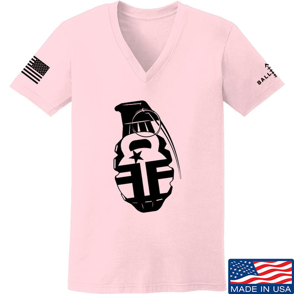 Fit'n Fire Ladies AK Grenade V-Neck T-Shirts, V-Neck SMALL / Light Pink by Ballistic Ink - Made in America USA