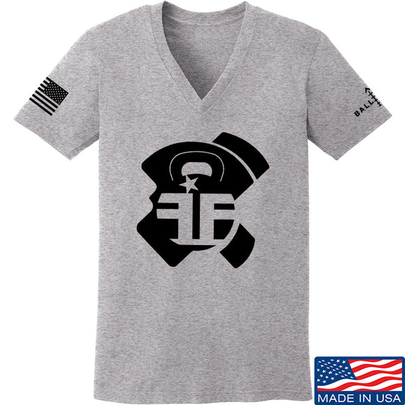 Fit'n Fire Ladies AK Lug V-Neck T-Shirts, V-Neck SMALL / Light Grey by Ballistic Ink - Made in America USA