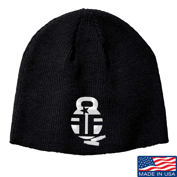 Fit'n Fire Fit'n Fire Logo Beanie Headwear Black by Ballistic Ink - Made in America USA