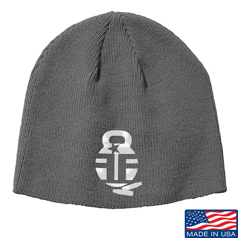 Fit'n Fire Fit'n Fire Logo Beanie Headwear Grey by Ballistic Ink - Made in America USA