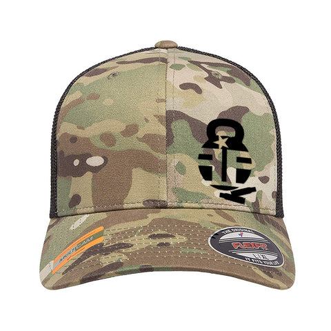 Fit'n Fire Fit'n Fire Bell and Shells Logo Flexfit® Multicam® Trucker Mesh Cap Headwear [variant_title] by Ballistic Ink - Made in America USA