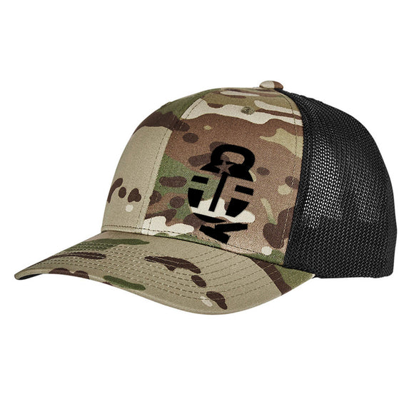 Fit'n Fire Fit'n Fire Bell and Shells Logo Flexfit® Multicam® Trucker Mesh Cap Headwear Multicam by Ballistic Ink - Made in America USA