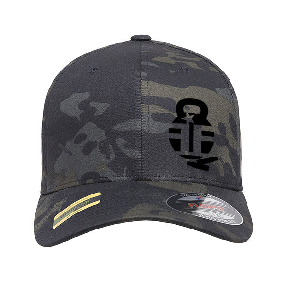 Fit'n Fire Fit'n Fire Bell and Shells Logo Flexfit® Multicam® Trucker Cap Headwear Black Multicam S/M by Ballistic Ink - Made in America USA