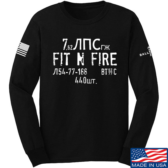 Fit'n Fire Spam Can Long Sleeve T-Shirt Long Sleeve Small / Black by Ballistic Ink - Made in America USA