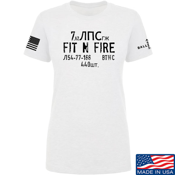 Fit'n Fire Ladies Spam Can T-Shirt T-Shirts SMALL / White by Ballistic Ink - Made in America USA