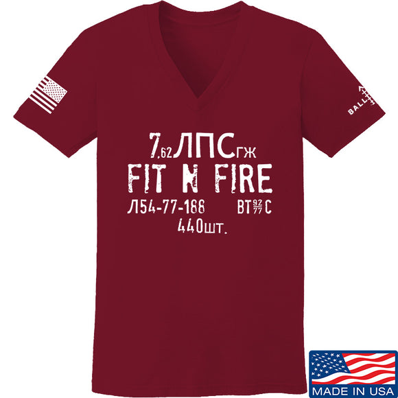 Fit'n Fire Ladies Spam Can V-Neck T-Shirts, V-Neck SMALL / Cranberry by Ballistic Ink - Made in America USA