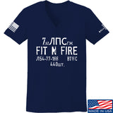 Fit'n Fire Ladies Spam Can V-Neck T-Shirts, V-Neck SMALL / Navy by Ballistic Ink - Made in America USA