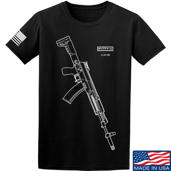 Fitty% AK Gun - Ak12 T-Shirt T-Shirts Small / Black by Ballistic Ink - Made in America USA