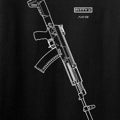 Fitty% AK Gun - Ak12 Long Sleeve T-Shirt Long Sleeve [variant_title] by Ballistic Ink - Made in America USA