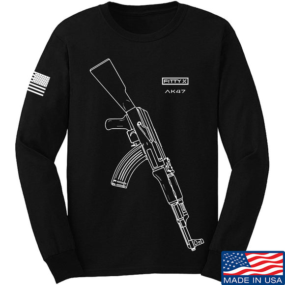 Fitty% AK Gun - Ak47 Long Sleeve T-Shirt Long Sleeve Small / Black by Ballistic Ink - Made in America USA
