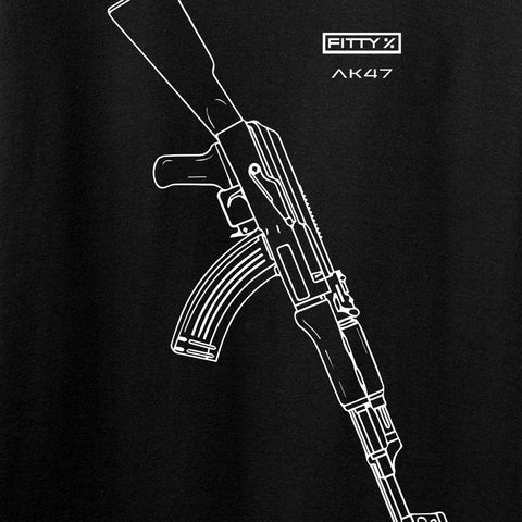 Fitty% AK Gun - Ak47 Long Sleeve T-Shirt Long Sleeve [variant_title] by Ballistic Ink - Made in America USA