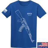 Fitty% AK Gun - Ak47 T-Shirt T-Shirts Small / Blue by Ballistic Ink - Made in America USA