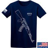 Fitty% AK Gun - Ak47 T-Shirt T-Shirts Small / Navy by Ballistic Ink - Made in America USA