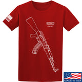 Fitty% AK Gun - Ak47 T-Shirt T-Shirts Small / Red by Ballistic Ink - Made in America USA