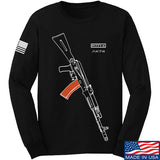 Fitty% AK Gun - Ak74AC Long Sleeve T-Shirt Long Sleeve Small / Black by Ballistic Ink - Made in America USA