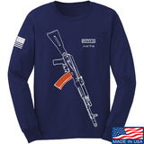 Fitty% AK Gun - Ak74AC Long Sleeve T-Shirt Long Sleeve Small / Navy by Ballistic Ink - Made in America USA