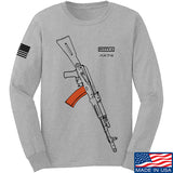 Fitty% AK Gun - Ak74AC Long Sleeve T-Shirt Long Sleeve Small / Light Grey by Ballistic Ink - Made in America USA