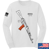 Fitty% AK Gun - Ak74AC Long Sleeve T-Shirt Long Sleeve Small / White by Ballistic Ink - Made in America USA