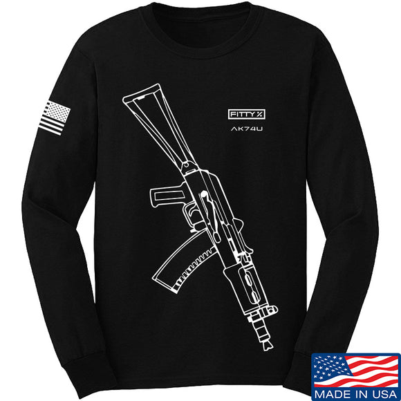 Fitty% AK Gun - Ak74U Long Sleeve T-Shirt Long Sleeve Small / Black by Ballistic Ink - Made in America USA