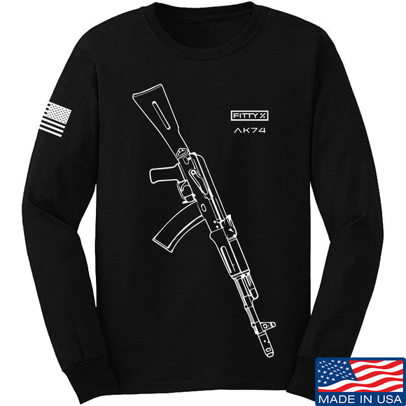 Fitty% AK Gun - Ak74 Long Sleeve T-Shirt Long Sleeve Small / Black by Ballistic Ink - Made in America USA