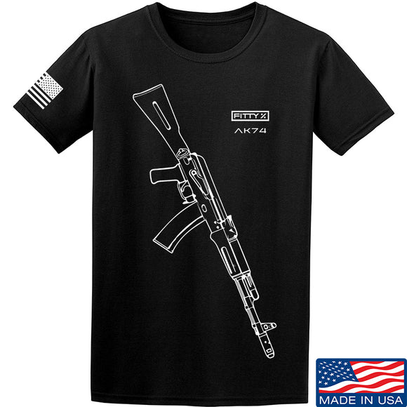 Fitty% AK Gun - Ak74 T-Shirt T-Shirts Small / Black by Ballistic Ink - Made in America USA