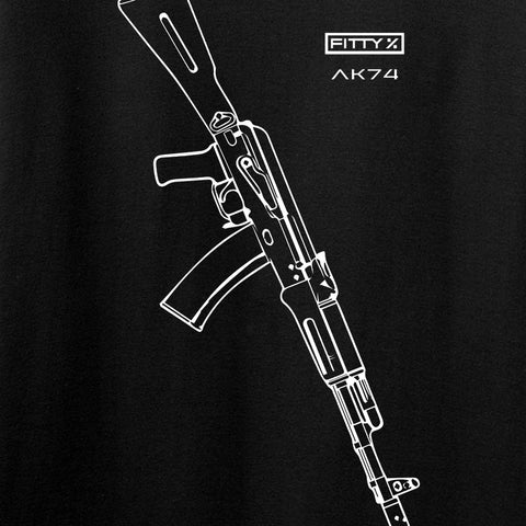Fitty% AK Gun - Ak74 Long Sleeve T-Shirt Long Sleeve [variant_title] by Ballistic Ink - Made in America USA