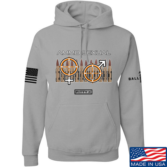 Fitty% Ammo-Sexual Hoodie Hoodies Small / Light Grey by Ballistic Ink - Made in America USA