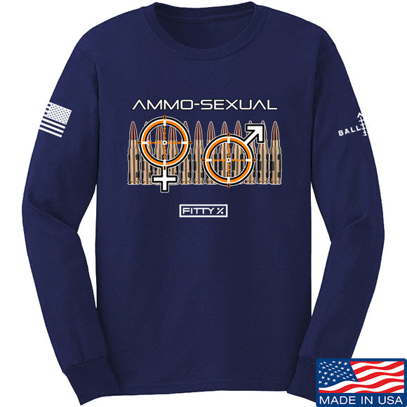 Fitty% Ammo-Sexual Long Sleeve T-Shirt Long Sleeve Small / Navy by Ballistic Ink - Made in America USA