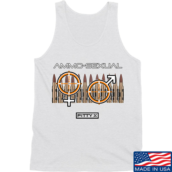 Fitty% Ammo-Sexual Tank Tanks SMALL / White by Ballistic Ink - Made in America USA