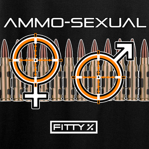 Fitty% Ladies Ammo-Sexual V-Neck T-Shirts, V-Neck [variant_title] by Ballistic Ink - Made in America USA