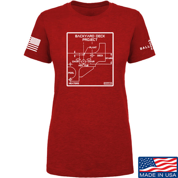 Fitty% Ladies Deck Project T-Shirt T-Shirts SMALL / Red by Ballistic Ink - Made in America USA
