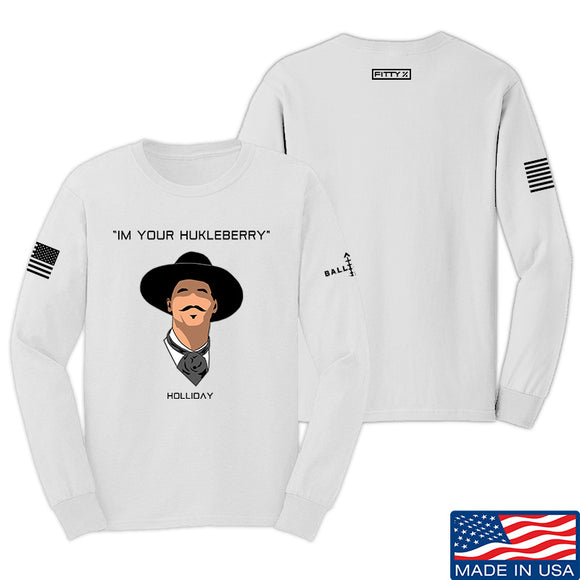 Fitty% Huckleberry Long Sleeve T-Shirt Long Sleeve Small / White by Ballistic Ink - Made in America USA
