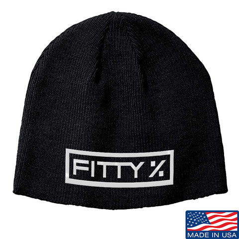 Fitty% Fitty% Logo Beanie Headwear Black by Ballistic Ink - Made in America USA