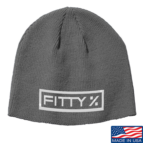 Fitty% Fitty% Logo Beanie Headwear Grey by Ballistic Ink - Made in America USA