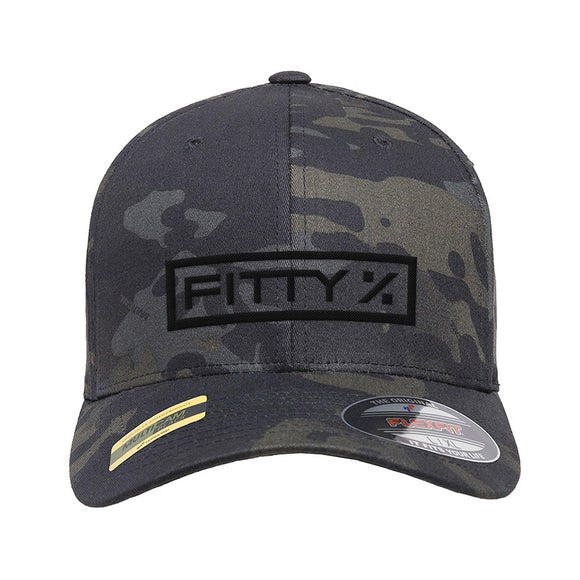 Fitty% Fitty% Logo Flexfit® Multicam® Trucker Cap Headwear Black Multicam S/M by Ballistic Ink - Made in America USA