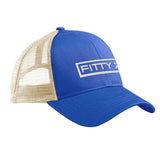 Fitty% Fitty% Full Logo Snapback Cap Headwear Royal/White by Ballistic Ink - Made in America USA