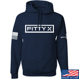 Fitty% Fitty% Full Logo Hoodie Hoodies Small / Navy by Ballistic Ink - Made in America USA