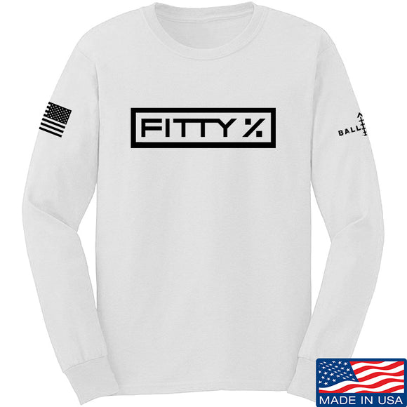 Fitty% Fitty% Full Logo Long Sleeve T-Shirt Long Sleeve Small / White by Ballistic Ink - Made in America USA