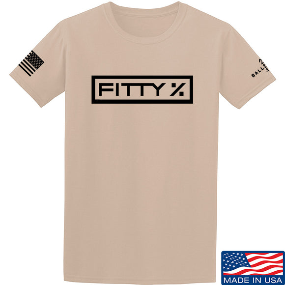 Fitty% Fitty% Full Logo T-Shirt T-Shirts Small / Sand by Ballistic Ink - Made in America USA
