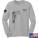 Fitty% Pistol - 2011 Long Sleeve T-Shirt Long Sleeve Small / Light Grey by Ballistic Ink - Made in America USA
