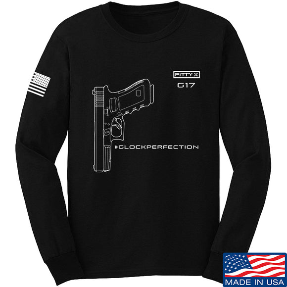 Fitty% Pistol - G17 - Glock Perfection Long Sleeve T-Shirt Long Sleeve Small / Black by Ballistic Ink - Made in America USA