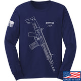 Fitty% USA Gun - ACR Long Sleeve T-Shirt Long Sleeve Small / Navy by Ballistic Ink - Made in America USA