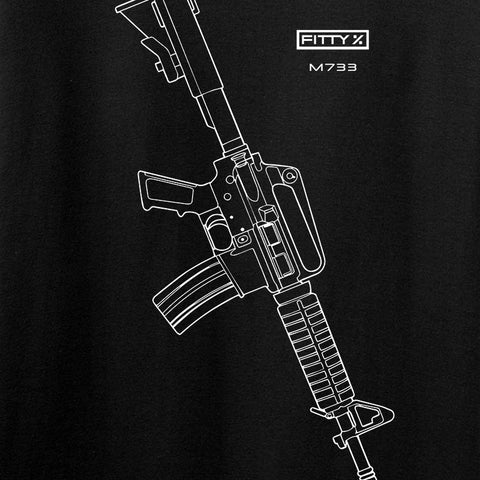 Fitty% USA Gun - Colt M733 T-Shirt T-Shirts [variant_title] by Ballistic Ink - Made in America USA