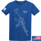 Fitty% USA Gun - Colt M733 T-Shirt T-Shirts Small / Blue by Ballistic Ink - Made in America USA