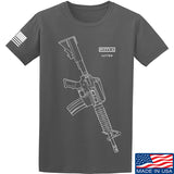 Fitty% USA Gun - Colt M733 T-Shirt T-Shirts Small / Charcoal by Ballistic Ink - Made in America USA